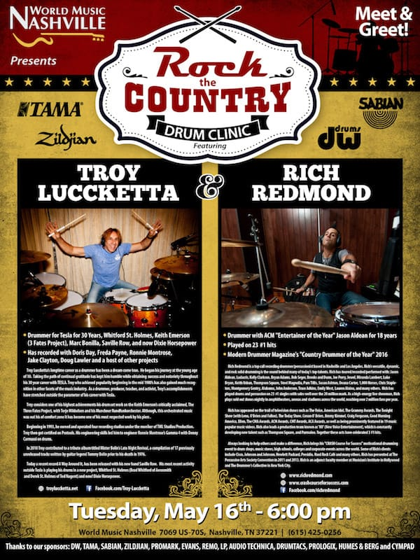 """Rock the Country"" with Troy Luccketta and Rich Redmond. May 5, 2017"